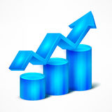 Blue chart with arrow on white Royalty Free Stock Image