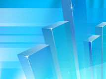 Blue chart columns on transparent light blue background Stock Photography