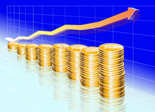 Blue chart with golden coins Stock Photography