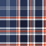 Blue check fabric texture pixel seamless pattern. Vector illustration Royalty Free Stock Images