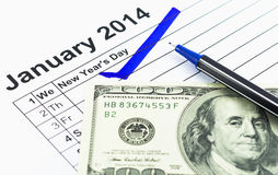 Blue check. Mark on the calendar at 1St January 2014  with usd m Royalty Free Stock Image