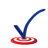 Blue check mark on targed in white background Stock Images