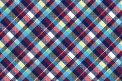 Blue check pixel fabric texture seamless pattern. Vector illustration Stock Photo