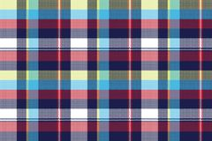 Blue check pixel fabric texture seamless pattern. Vector illustration Royalty Free Stock Photo