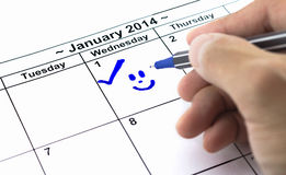 Blue check with smile. Mark on the calendar at 1St January 2014 Royalty Free Stock Photos