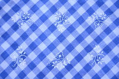 Blue Checked Dress Material With Flowers Stock Photo