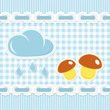 Blue checked pattern with mushroom Royalty Free Stock Photography