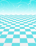 Blue Checker Pattern with abstract swirl Backgroun. Vector illustration of a blue checker board pattern in perspective with a swirling backdrop Stock Photography