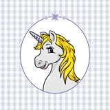 Blue checkered background with a happy unicorn in frame royalty free stock image