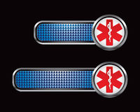 Blue checkered banners with caduceus symbol Royalty Free Stock Image