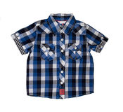 Blue checkered boy shirt. Isolated on white stock photo