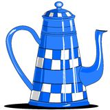 Blue checkered coffee pot Royalty Free Stock Photos