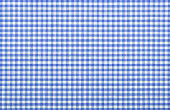 Blue checkered fabric. Closeup , tablecloth texture Royalty Free Stock Photos