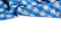 Blue Checkered Fabric on white Background.  Royalty Free Stock Image