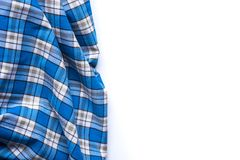 Blue Checkered Fabric on white Background.  Royalty Free Stock Photo