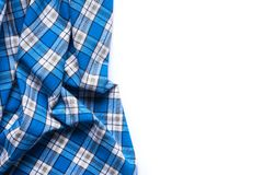 Blue Checkered Fabric on white Background.  Stock Image