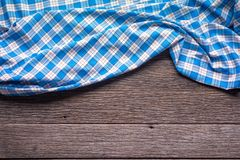 Blue Checkered Fabric on wood  Background. Blue Checkered Fabric on wood  Background Royalty Free Stock Image