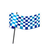 Blue checkered flag racing. Symbol Royalty Free Stock Images