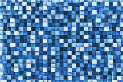 Blue Checkered Reflective Cube Background Stock Images