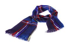 Blue checkered scarf. Blue warm checkered scarf. Isolated on white background Stock Photos
