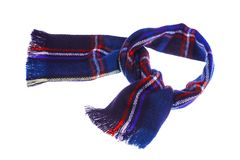 Blue checkered scarf. Blue warm checkered scarf. Isolated on white background Royalty Free Stock Images