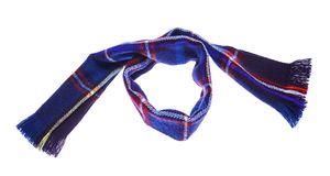 Blue checkered scarf. Blue warm checkered scarf. Isolated on white background Stock Image