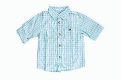 Blue checkered shirt. Blue checkered boy shirt isolated on white stock images
