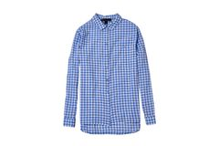 Blue checkered shirt flat lay. Fashion concept. Isolate on white background.  stock photos