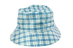 Blue checks hat. Blue checks fashion hat on white Stock Photography