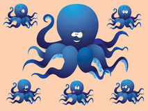 Blue cheerful cartoon octopus, with a different face. Royalty Free Stock Images