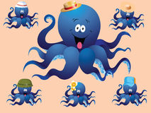 Blue cheerful cartoon octopus, with various accessories ( hat). Stock Photography