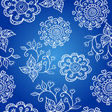 Blue cheerful pattern with flowers Royalty Free Stock Photo