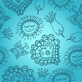Blue cheerful pattern with hearts and sun Royalty Free Stock Photography