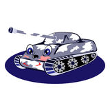 Blue cheerful tank. Abstract illustration of a blue tank fun on a white background. Vector background Vector Illustration