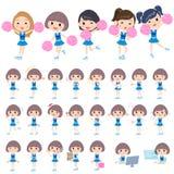 Blue Cheerleader. Set of various poses of blue Cheerleader Stock Images