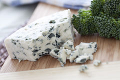 Blue Cheese. On cutting board with other ingredients stock photos