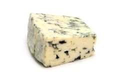 Blue cheese. Piece of danish blue cheese on white background stock photos