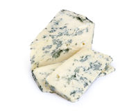 Blue cheese. On a white background stock images