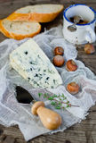 Blue cheese. With nuts and bread Royalty Free Stock Photo
