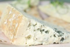 Blue Cheese. A chunk of blue cheese sits on a pink plate with a watercolor background Stock Image
