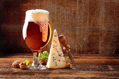 Free Blue Cheese Appetizer And Beer On Brown Vintage Background Stock Photography - 90250422