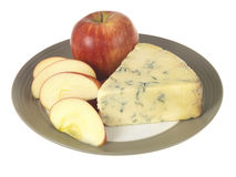 Blue Cheese with Apple Royalty Free Stock Images
