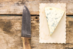 Blue cheese background with copyspace. Royalty Free Stock Photo