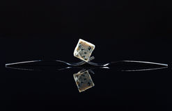 Blue cheese on a black background Stock Photo