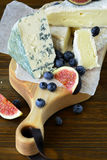 Blue cheese and brie with fruits Stock Images