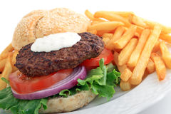 Blue cheese burger with french fries Stock Photo