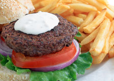 Blue cheese burger with frieds Royalty Free Stock Images