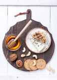 Blue cheese and camembert with honey and walnuts. Cheeseboard Stock Photography