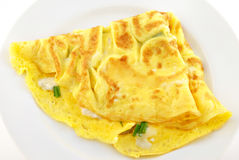 Blue Cheese & Chive Omelette. A omelette of blue cheese and chives stock image