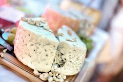 Blue cheese close-up as appetiser with various types of cheese Stock Photography